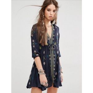 NEW Free People Star Gazer Embroidered Tunic Dress